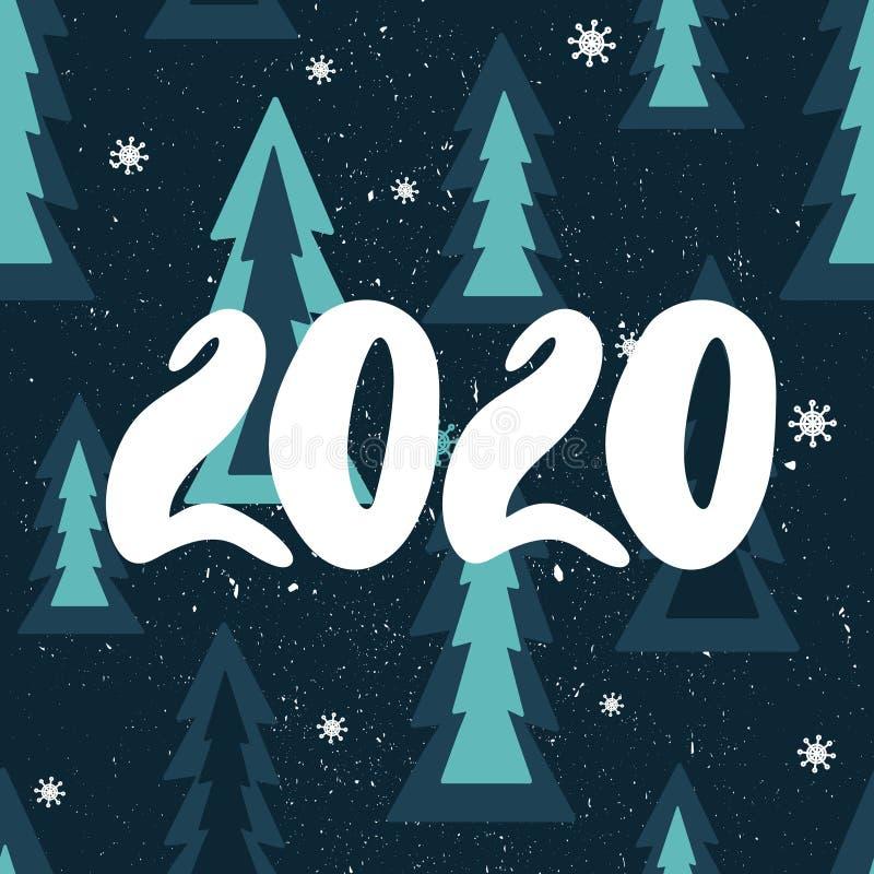 Fondo colorido con 2020, abetos de la Navidad, nieve Contexto decorativo, invierno Feliz Año Nuevo, tarjeta de felicitación festi ilustración del vector
