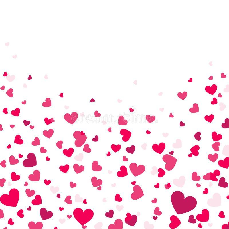 Fondo colorido con confeti del corazón Tarjeta de felicitación del día de tarjetas del día de San Valentín o diseño del partido d stock de ilustración