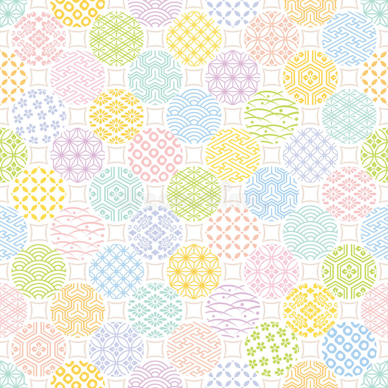 Fondo colorido con diseño tradicional japonés ilustración del vector