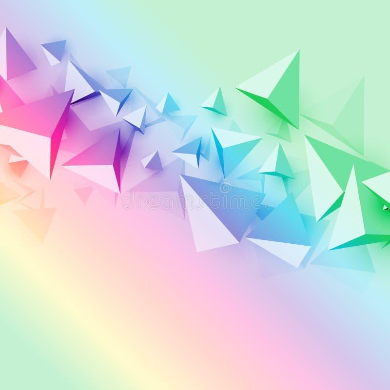 Fondo colorido con formas del triángulo del polígono 3d stock de ilustración