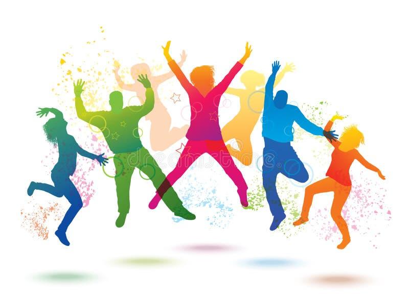 Fondo colorido con la gente del baile stock de ilustración