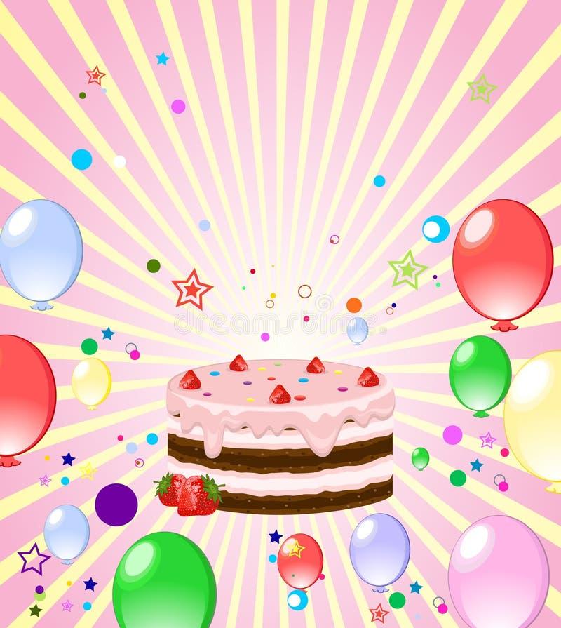 Fondo colorido con la torta ilustración del vector