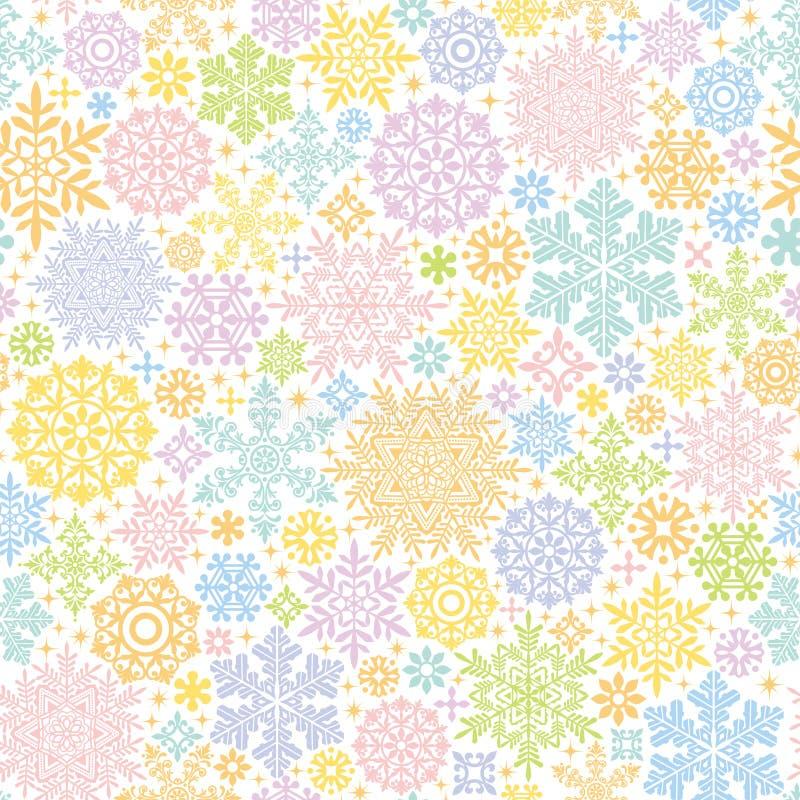 Fondo colorido con los cristales y los tapetitos de la nieve ilustración del vector