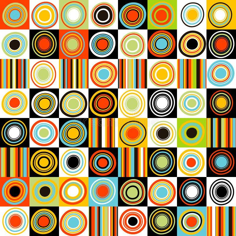 Fondo colorido con los puntos, los círculos y las rayas ilustración del vector