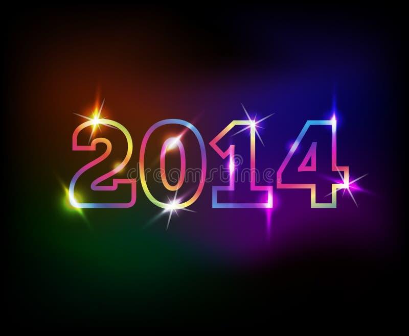 fondo colorido de 2014 años stock de ilustración