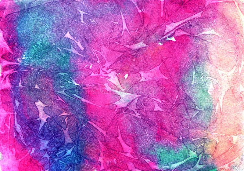 Fondo colorido de la acuarela, colores brillantes de la violeta, de la púrpura, azules y carmesís fotos de archivo