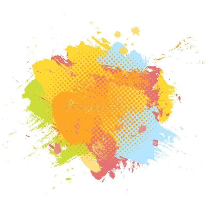 Fondo colorido de la brocha abstracta del Grunge Plantilla del ejemplo del vector con el espacio para el texto ilustración del vector