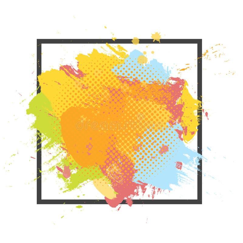 Fondo colorido de la brocha abstracta del Grunge Vector la plantilla del ejemplo con el marco y el espacio para el texto stock de ilustración