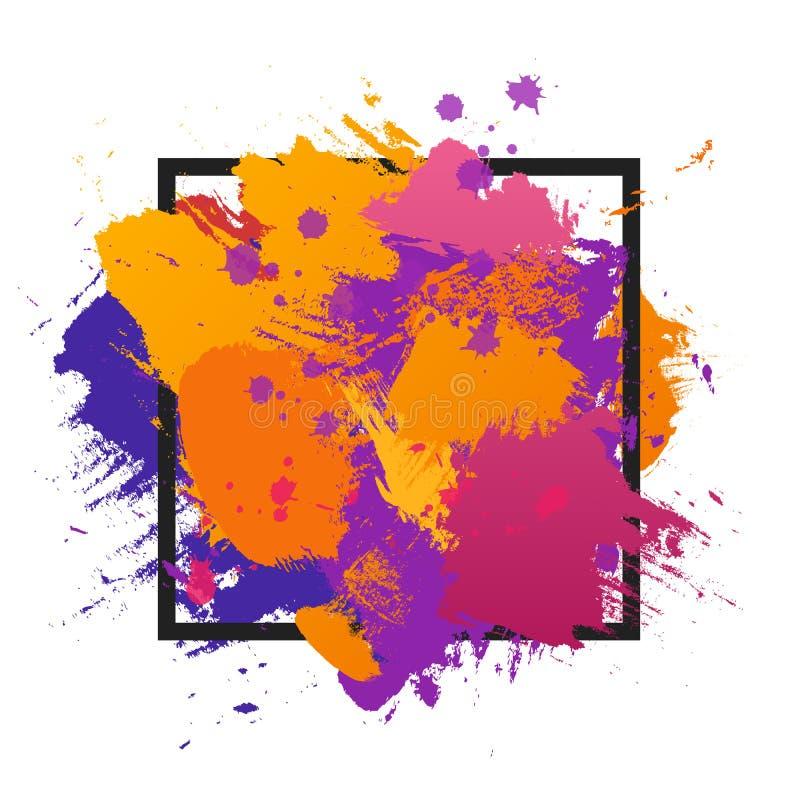 Fondo colorido de la brocha abstracta del Grunge Vector la plantilla del ejemplo con el marco y el espacio para el texto ilustración del vector