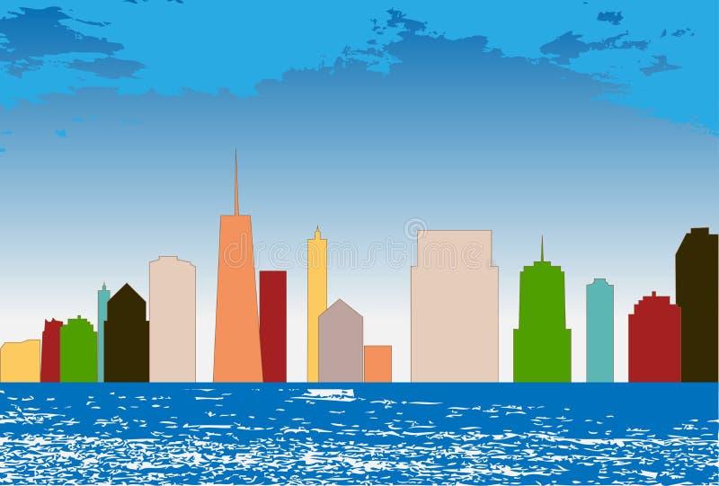 Fondo colorido de la ciudad de la silueta Ilustración del vector ilustración del vector