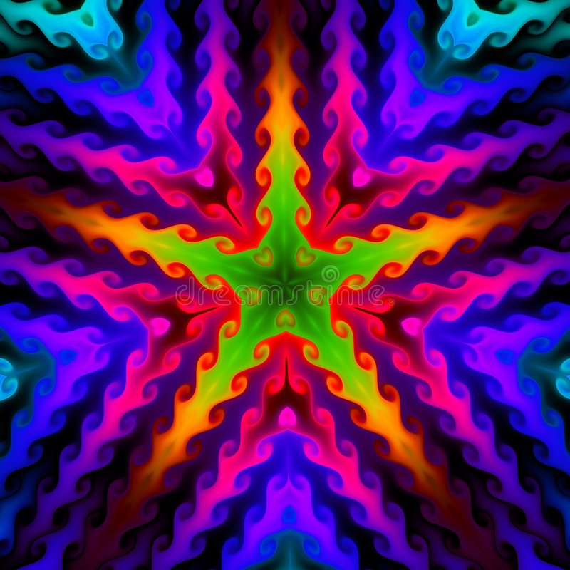 Fondo colorido de la estrella, fractal094R libre illustration