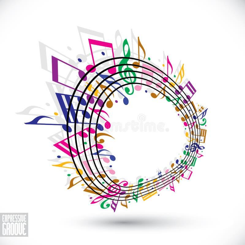 Fondo colorido de la música con la clave y las notas stock de ilustración