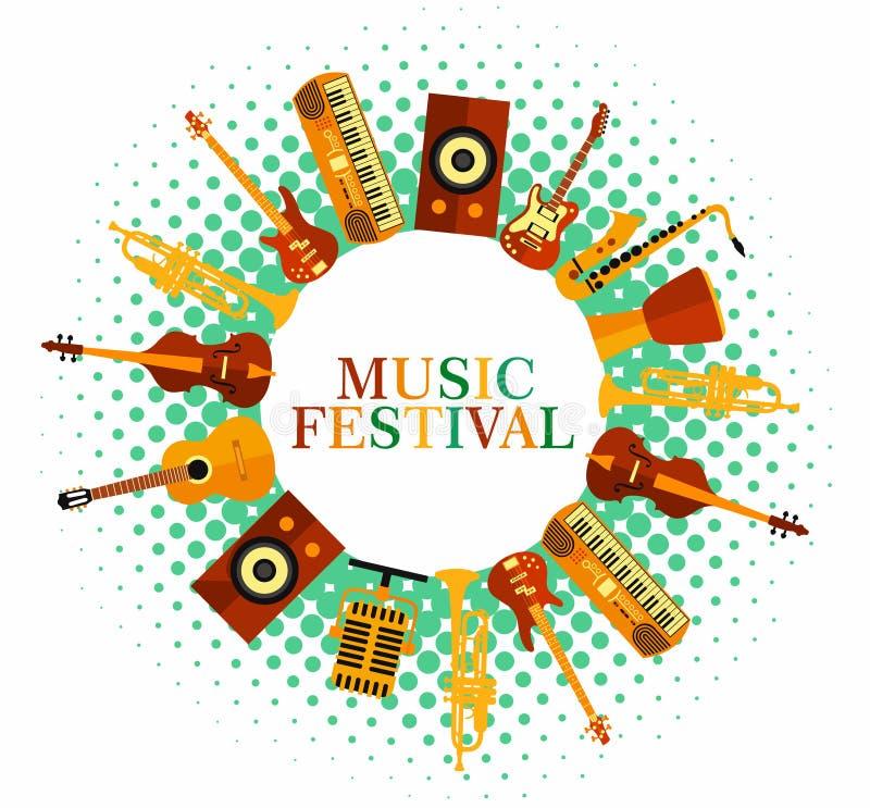 Fondo colorido de la música Instrumentos de música Cartel del festival de música Jazz del ejemplo del vector, roca stock de ilustración