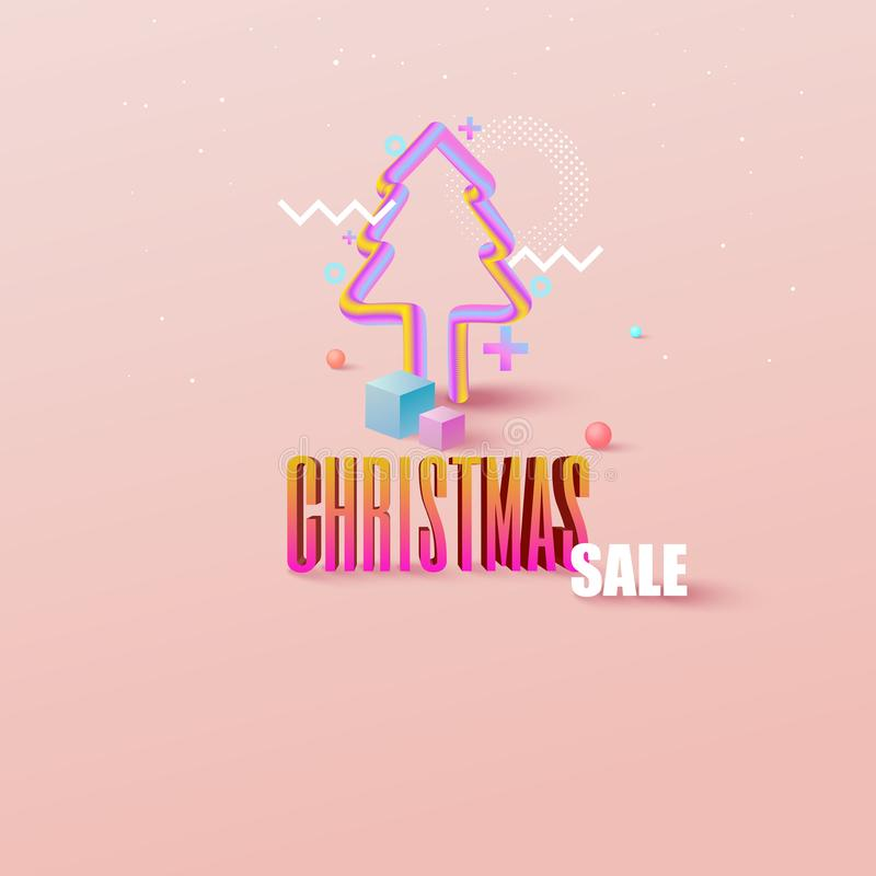 Fondo colorido de la Navidad de la geometría con el copia-espacio para su producto Espacio vac?o para hacer publicidad Cubierta a ilustración del vector