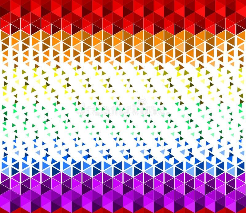Fondo colorido de la textura del arco iris que agita de las peque?as formas del tri?ngulo, colores de la bandera del orgullo de L stock de ilustración