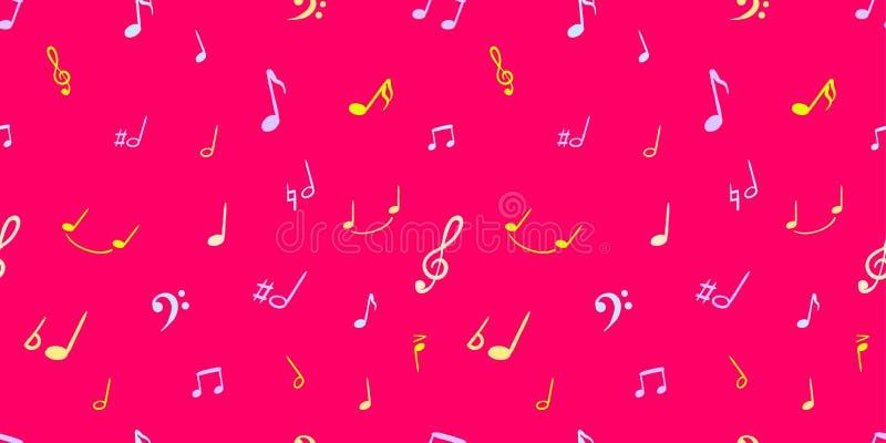 Fondo colorido de las notas de la música del vector, color rosado brillante, símbolos musicales manuscritos - modelo inconsútil ilustración del vector