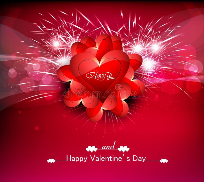 Fondo colorido de los corazones del día de tarjetas del día de San Valentín de tarjeta de felicitación stock de ilustración