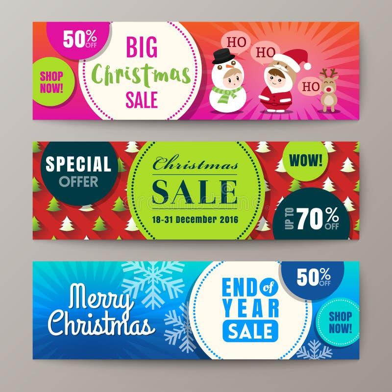 Fondo colorido de tres de la Navidad banderas de la venta stock de ilustración