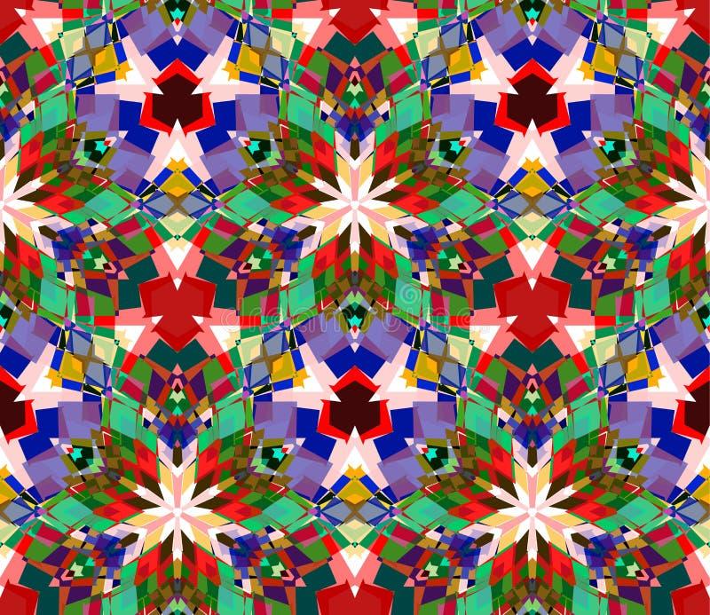 Fondo colorido del caleidoscopio Modelo inconsútil integrado por los elementos del extracto del color establecidos en el fondo bl stock de ilustración