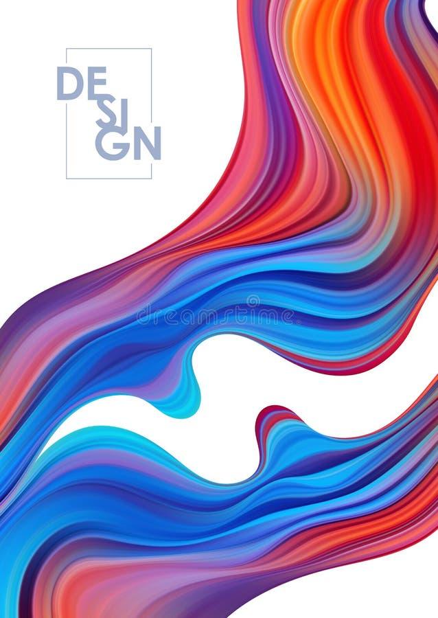 Fondo colorido del cartel del flujo del vector Forma del l?quido de la onda Dise?o abstracto moderno ilustración del vector