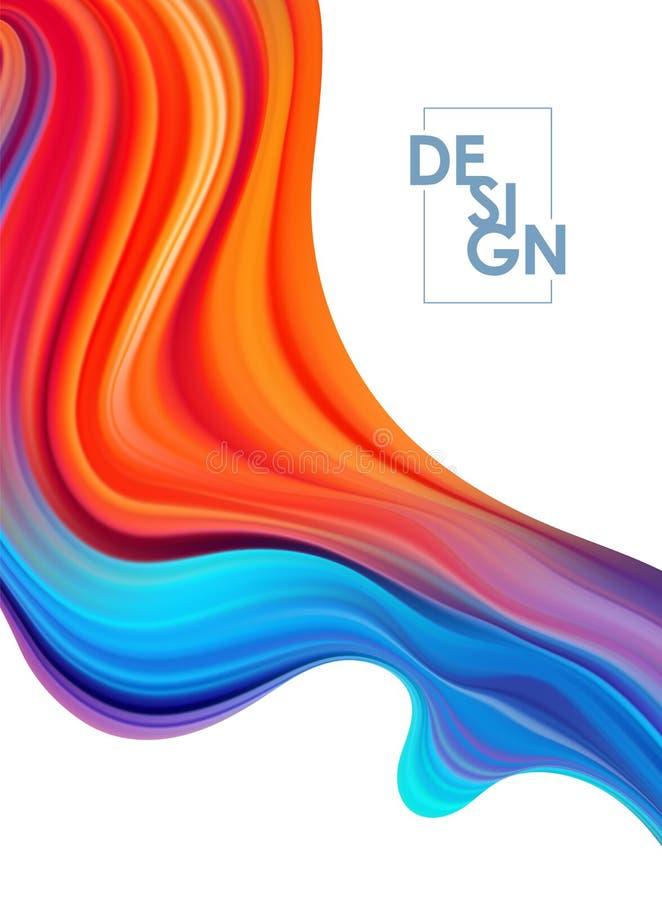 Fondo colorido del cartel del flujo del vector Forma del l?quido de la onda Dise?o moderno stock de ilustración