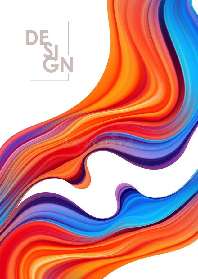 Fondo colorido del cartel del flujo del vector Forma del l?quido de la onda ilustración del vector