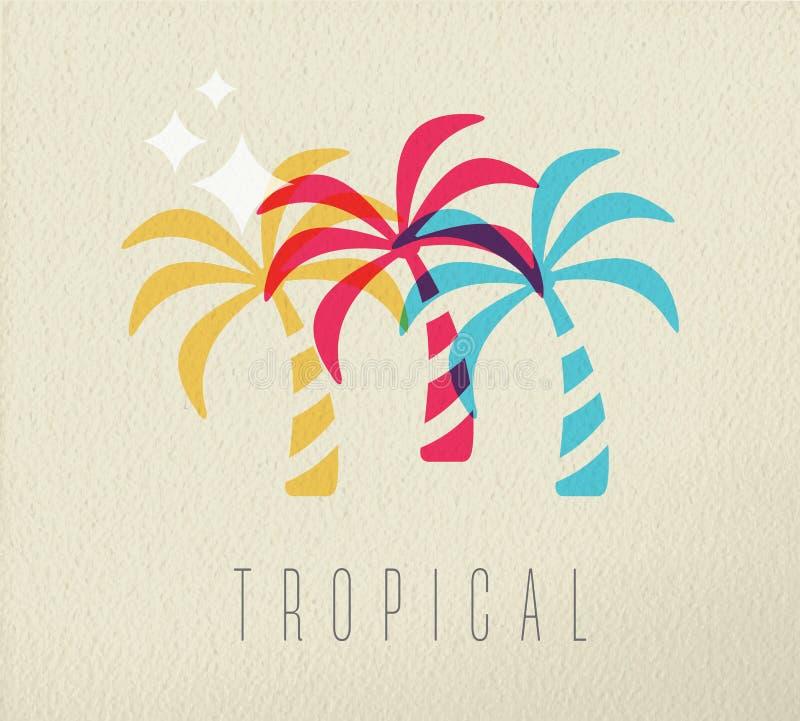 Fondo colorido del concepto del verano de la palmera ilustración del vector