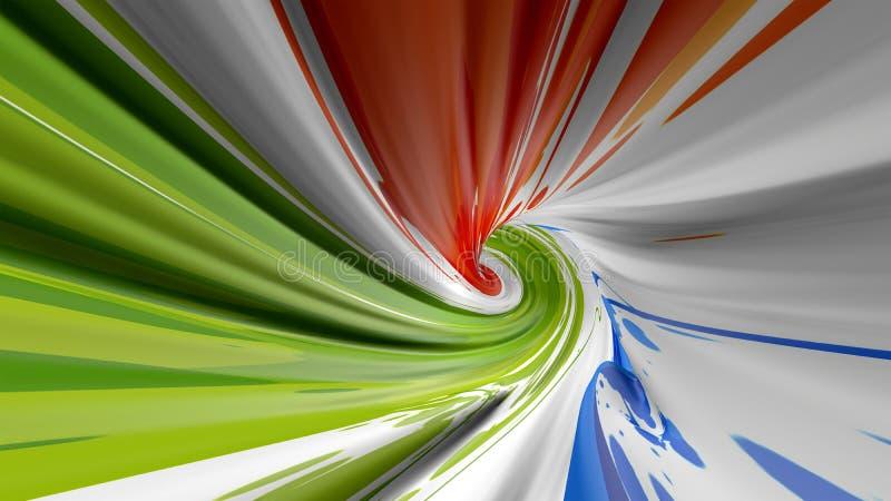 Fondo colorido del flujo Onda l?quida ligera azul realista como embudo Coloree la opini?n superior del tornado El túnel del remol imagen de archivo libre de regalías