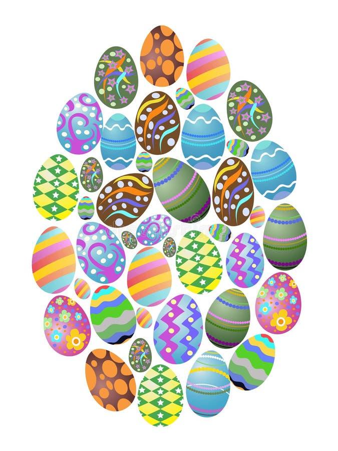 Fondo colorido del grupo de los huevos de Pascua stock de ilustración