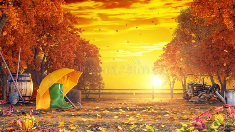 Fondo colorido del otoño en la puesta del sol libre illustration