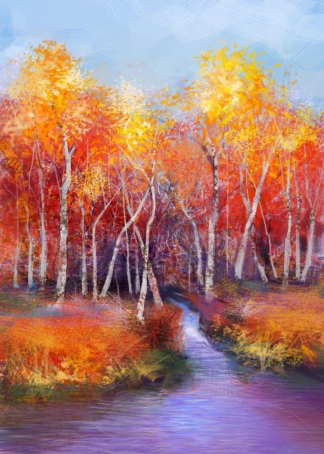 Fondo colorido del paisaje del otoño de la pintura al óleo stock de ilustración