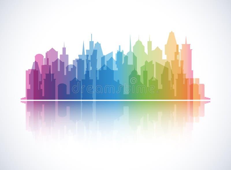 Fondo colorido del paisaje urbano Silueta del horizonte libre illustration