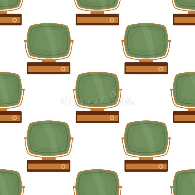 Fondo colorido del vector del extracto de la exhibición de la difusión de la tecnología del vintage de la pantalla de la televisi stock de ilustración