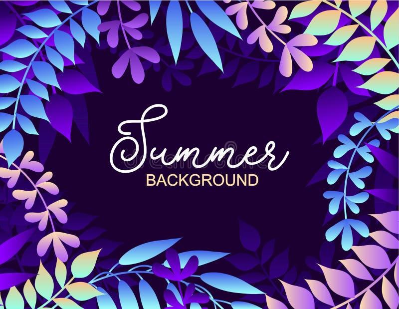 Fondo colorido del verano con las hojas Ejemplo del vector para el verano de las invitaciones del verano, de los carteles, de las libre illustration