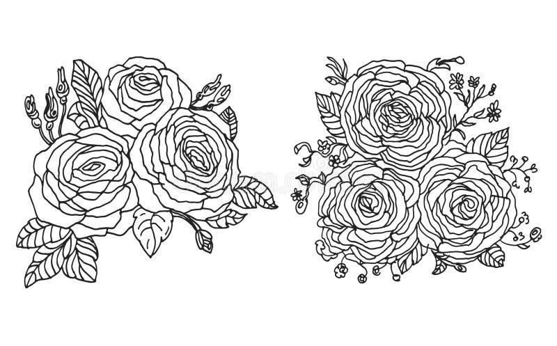 Fondo colorido del vintage con las rosas dibujadas mano Plantilla floral del vector para la tarjeta de felicitación, invitación,  ilustración del vector