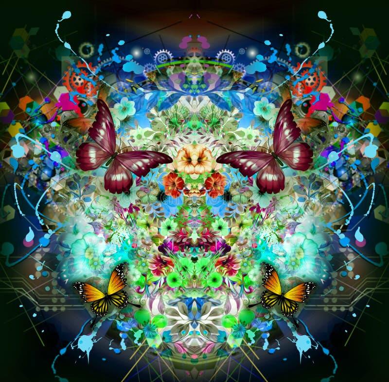 Fondo colorido futurista con las mariposas hermosas stock de ilustración
