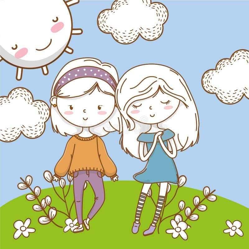 Fondo colorido lindo de la naturaleza de los amigos de muchachas de los pares stock de ilustración