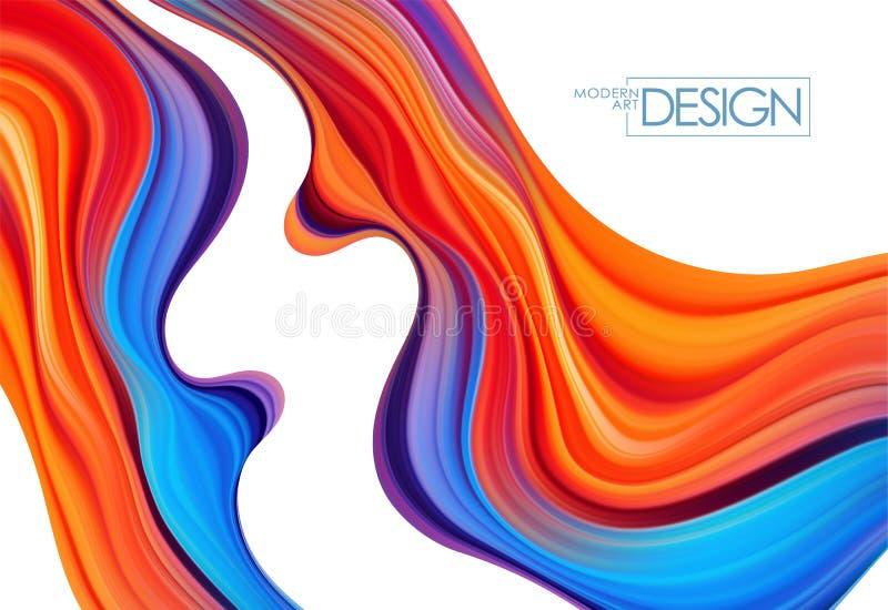Fondo colorido moderno del flujo Forma abstracta del l?quido de la onda stock de ilustración