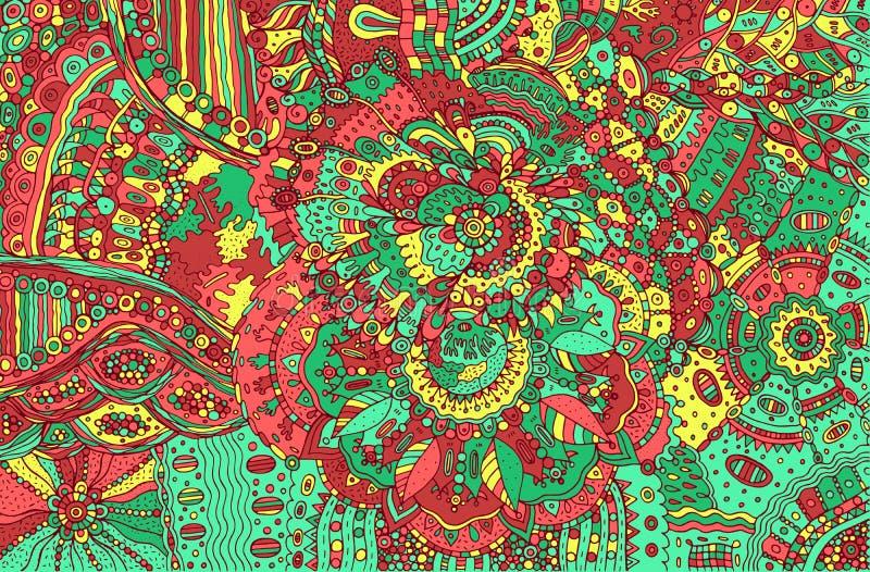 Fondo colorido psicodélico del garabato Modelo exhausto de la mano con libre illustration