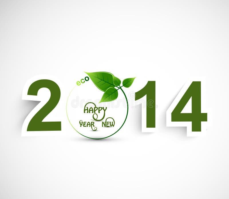 Fondo colorido verde de la Feliz Año Nuevo 2014 ilustración del vector