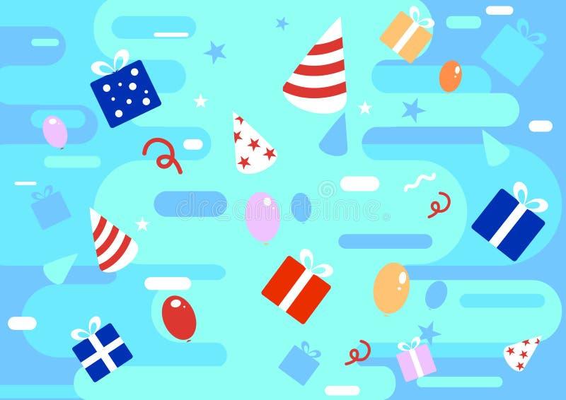 Fondo colourful di celebrazione felice nello stile piano con i regali, presente, nastri, illustrazioni dei palloni Illustrazione  royalty illustrazione gratis