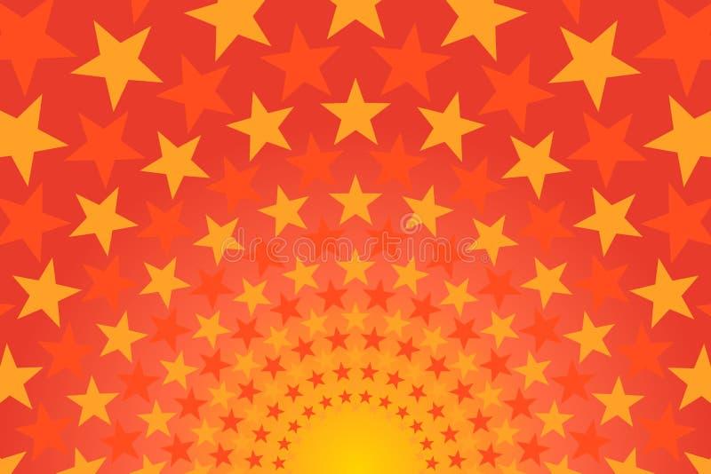 Fondo comico giallo, arancio e rosso luminoso stellato fotografia stock
