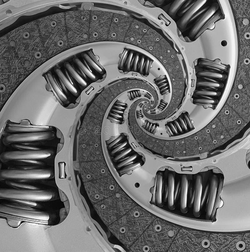 Fondo compuesto abstracto del modelo del fractal del espiral del disco de embrague del coche del camión Fractal torcido espiral t fotografía de archivo