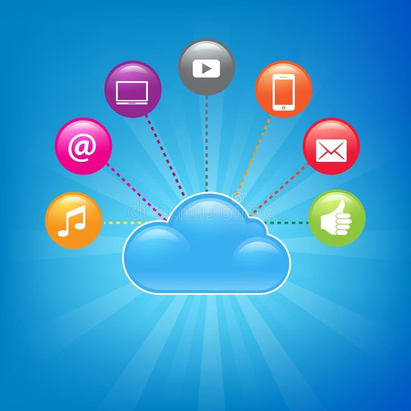 Fondo computacional de la nube ilustración del vector