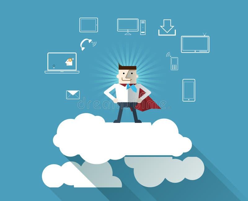Fondo computacional del concepto de la nube con el Super héroe-hombre de negocios stock de ilustración