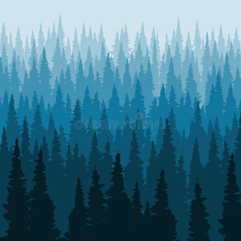 Fondo conífero del bosque del vector, plantilla de la silueta de los árboles de pino ilustración del vector