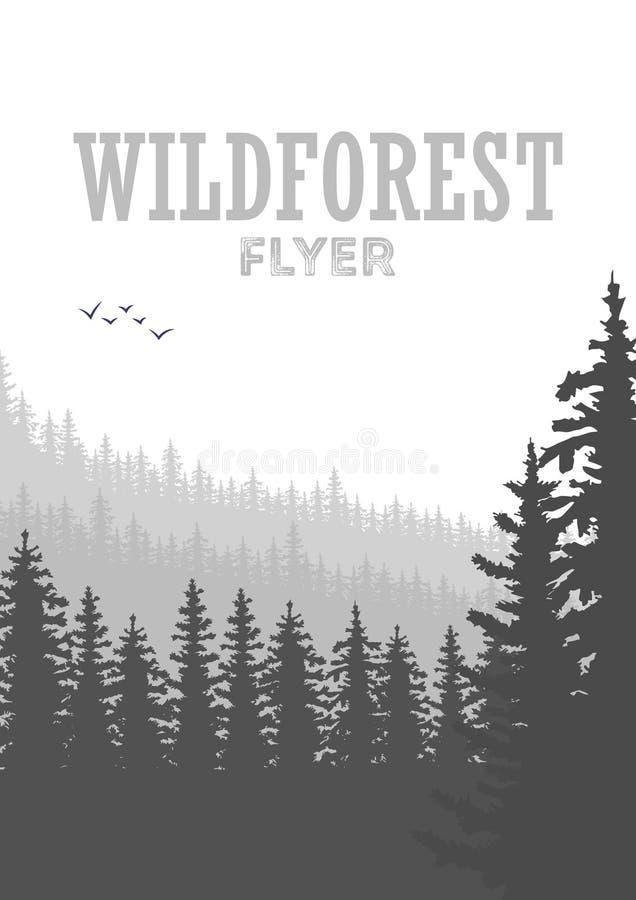 Fondo conífero salvaje del aviador del bosque Árbol de pino, naturaleza del paisaje, panorama natural de madera stock de ilustración
