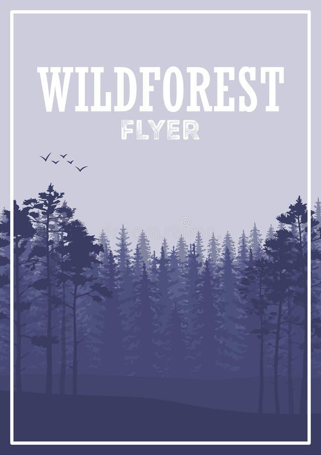 Fondo conífero salvaje del aviador del bosque Árbol de pino, naturaleza del paisaje, panorama natural de madera libre illustration