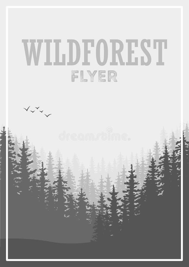 Fondo conífero salvaje del aviador del bosque Árbol de pino, naturaleza del paisaje, panorama natural de madera ilustración del vector