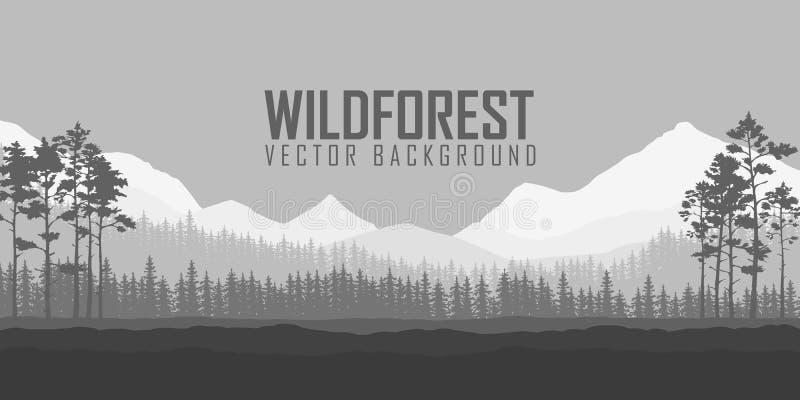 Fondo conífero salvaje del bosque Árbol de pino, naturaleza del paisaje, panorama natural de madera libre illustration